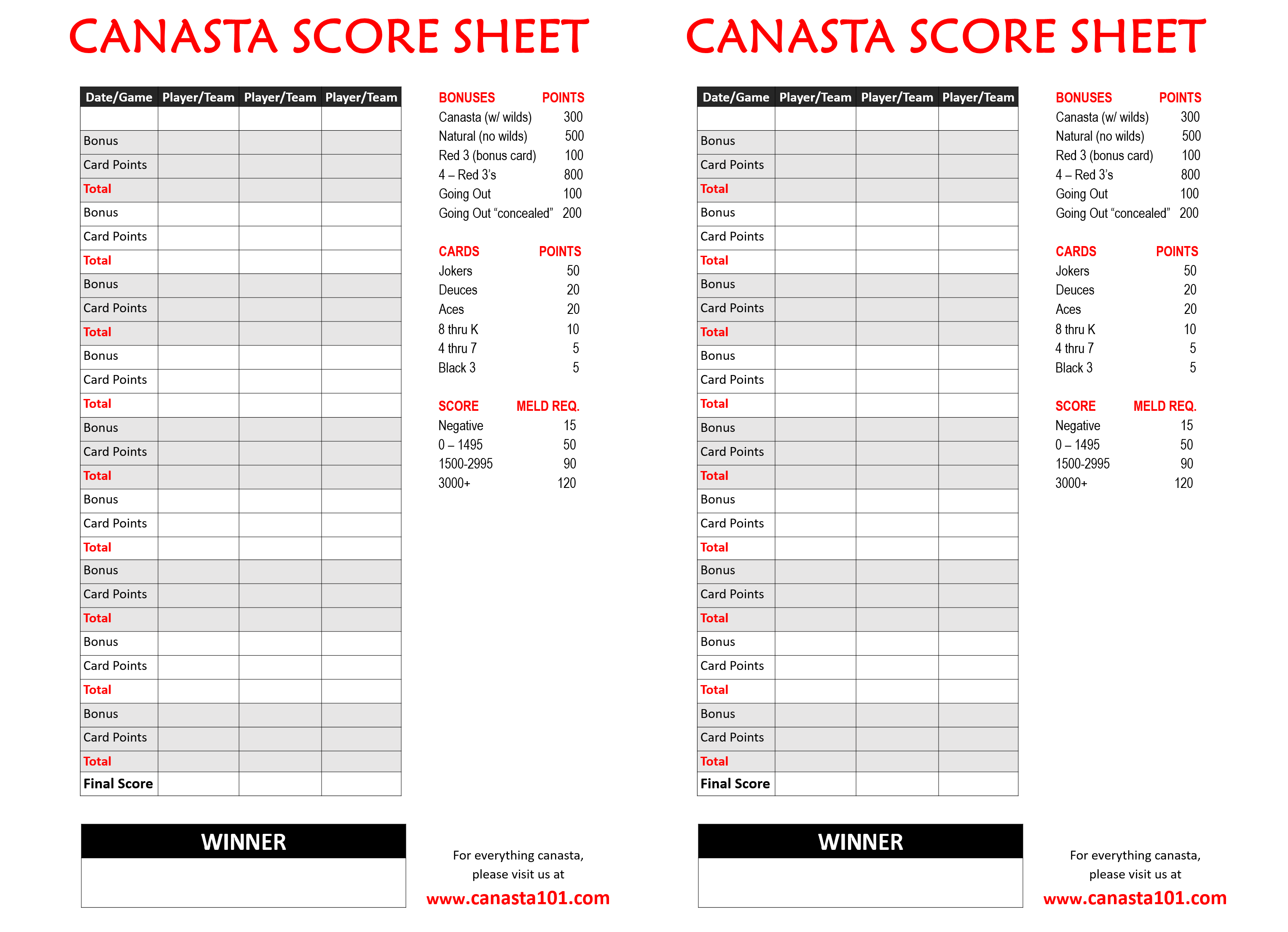 photo relating to Printable Score Sheet identified as Canasta Ranking Sheet Cost-free - Canasta Scoring Melds